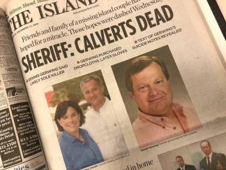 Article featured by Hilton Head newspaper, The Island Packet, whenever the Calverts--still missing--were declared legally dead.