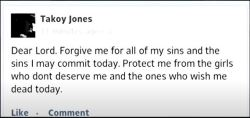 This status--posted on the day of Faith's murder by a man who blamed her for the end of his relationship with her friend, Karena, has drawn considerable attention from investigators and the public alike. The poster--Eriq Jones--had allegedly made threats to kill Faith just prior to her death.