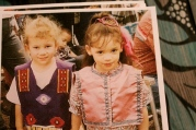 A young Faith Hedgepeth (right) participates in her first pow wow. Faith was an active member of the Haliwa Saponi tribal community throughout her life.