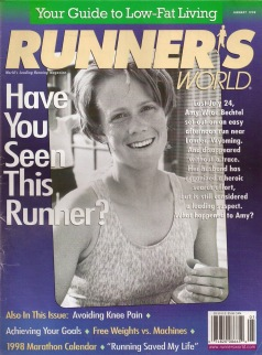 """Cover of the January 1998 edition of Runner's World Magazine featuring a photo of Amy Wroe Bechtel, along with the question: """"Have you seen this runner?"""""""