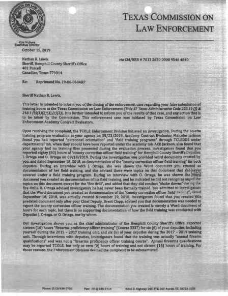 A formal letter of reprimand from the Texas Commission on Law Enforcement to Sheriff Nathan Lewis is pictured.