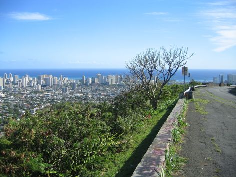 A panoramic photo shows the view of Honolulu from atop Mt. Tantalus.