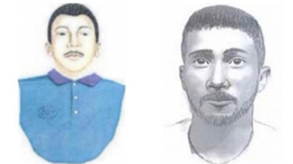 """These police sketches show the """"Fairmount Park Rapist"""", a Hispanic male approx. 5'8"""" in height with dark hair and eyes. Notable features include scars on his chest and shoulder and broken English / a thick Central or South American accent."""