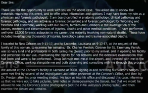 A letter from the forensic pathologist hired by the Krentel family details his experience viewing Nanette's remains (page 1). From WWLTV.