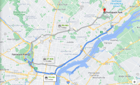 This map illustrates the distance between Fairmount Park (the location of the Fairmount Park Rapist's first 3 known attacks) and Pennypack Park (the location of his 4th and last known attack). The distance between the two parks (approx. 12 miles) is significant, considering that the F.P.R. traveled by foot or bicycle and likely preferred to target victims close to his home. Courtesy of Google Maps.