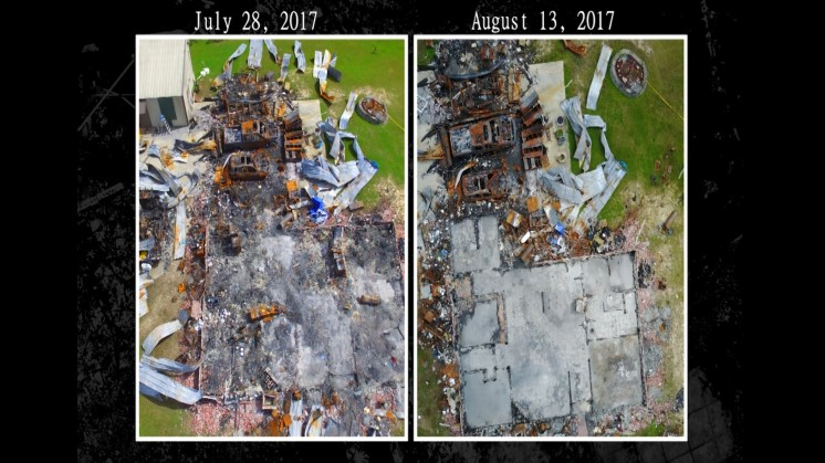 These side-by-side comparison images show the scene of the fire at the Krentel home two weeks apart. The fire occurred on July 14th, 2017.