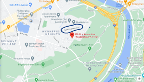 This map shows the location of Rebecca's apartment (red marker), which she left on foot for a fatal Sunday afternoon run. A couple driving down nearby Conshohocken Avenue (circled in blue) heard what were likely Rebecca's screams. Rebecca's body was found inside the park (designated by green color on map) 4 days later.