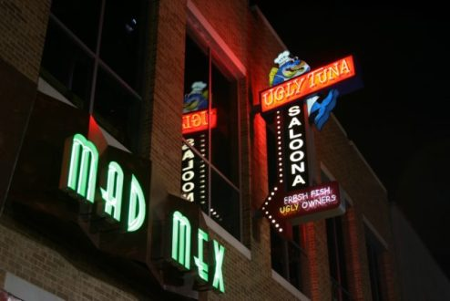 The Ugly Tuna Saloona was surrounded by other bars, such as Mad Mex. One of the enduring questions in Brian's case is how he managed to leave the Ugly Tuna without being captured on its security cameras, or the cameras of any surrounding businesses. Photo by D Rust.