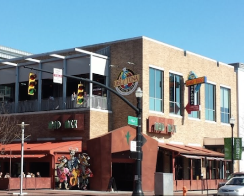 A street view of the Ugly Tuna Saloona shows its second story position, and the other bars that surround it. It's unknown how Brian disappeared from the bar without being caught on security footage from any of the businesses pictured.