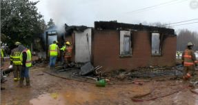 First responders are pictured at the site of the fire that destroyed the Short Family home in 2019. It remains unknown whether or not the fire was an act of arson.