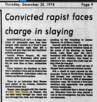 An article from the 12-28-1979 newspaper references Gerald Hooper's charge for the attempted rape of a 12 year old girl, and the murder of a 14 year old girl.