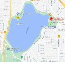 This image from Google Maps shows Seattle's Green Lake Park, where Autumn was found dead in the water. The blue star (right) shows the approximate area of the park where Autumn parked her car. The red star (left) shows the approximate area of the park where Autumn's body was found floating near the shore. I